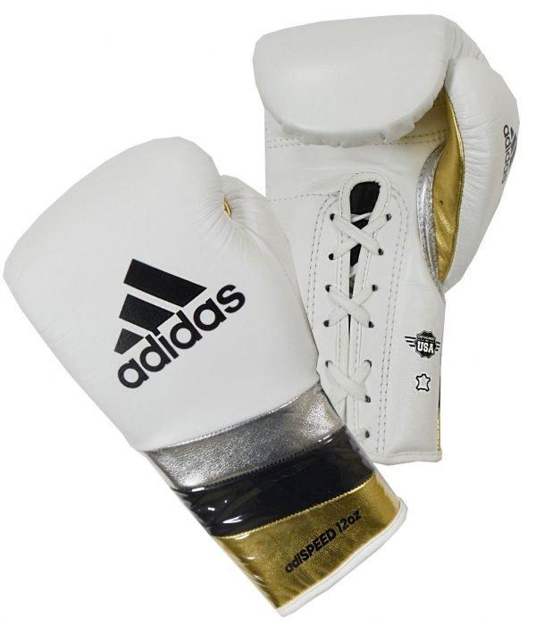 Adidas Adispeed 500 Lace Boxing Gloves White