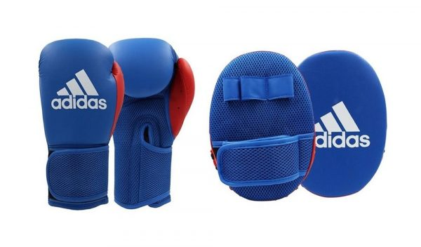 Adidas Boxing Gloves & Focus Mitt Set In Blue
