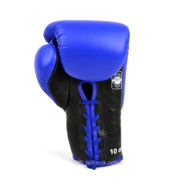 Twins Lace Up Competition Blue Boxing Gloves