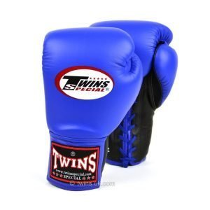 Twins Lace Up Competition Boxing Gloves - Blue