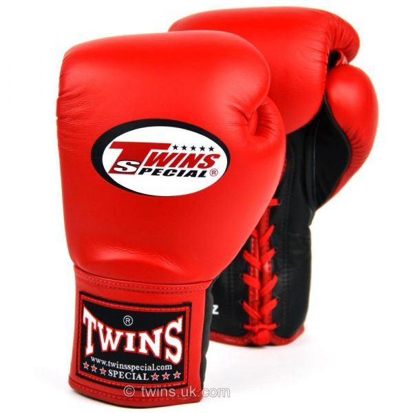 Twins Lace Up Competition Boxing Gloves - Red