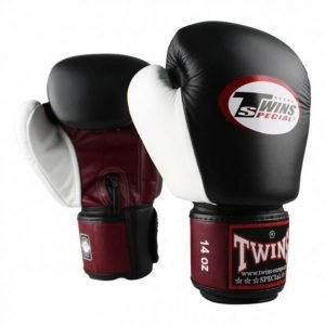 Twins 3 Tone Boxing Gloves - Black/Burgundy/White