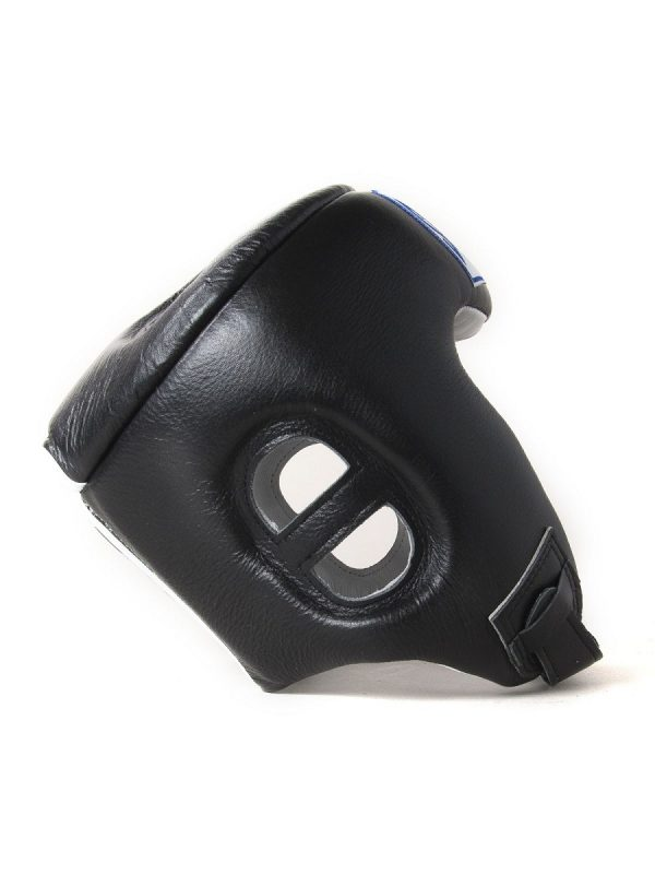 Sandee Open Face Black & White Synthetic Leather Head Guard