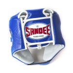 Sandee Open Face Blue & White Synthetic Leather Head Guard