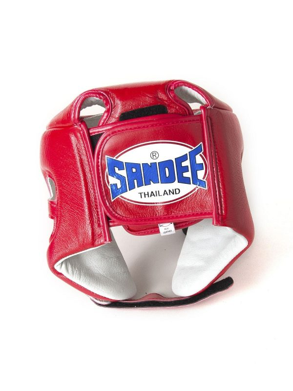 Sandee Open Face Red & White Synthetic Leather Head Guard