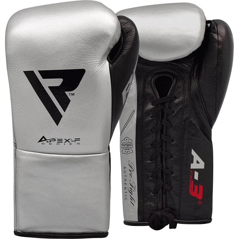 Image of RDX A3 BBBofC Approved Fight Boxing Gloves silver 10oz