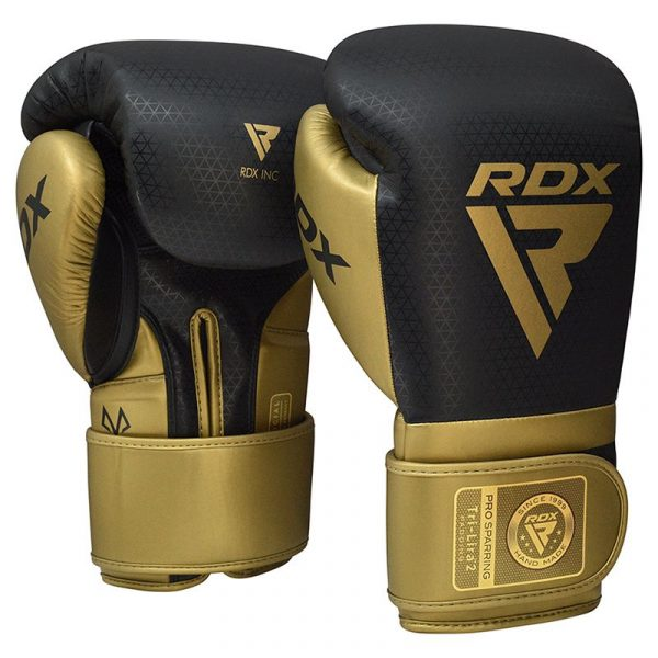 RDX L2 Mark Pro Sparring Boxing Gloves Hook and loop Black Golden