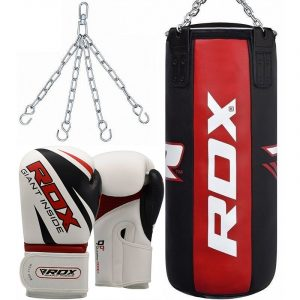 RDX X3 3ft 3-in-1 Pro Red & Black Punch Bag with Gloves Set