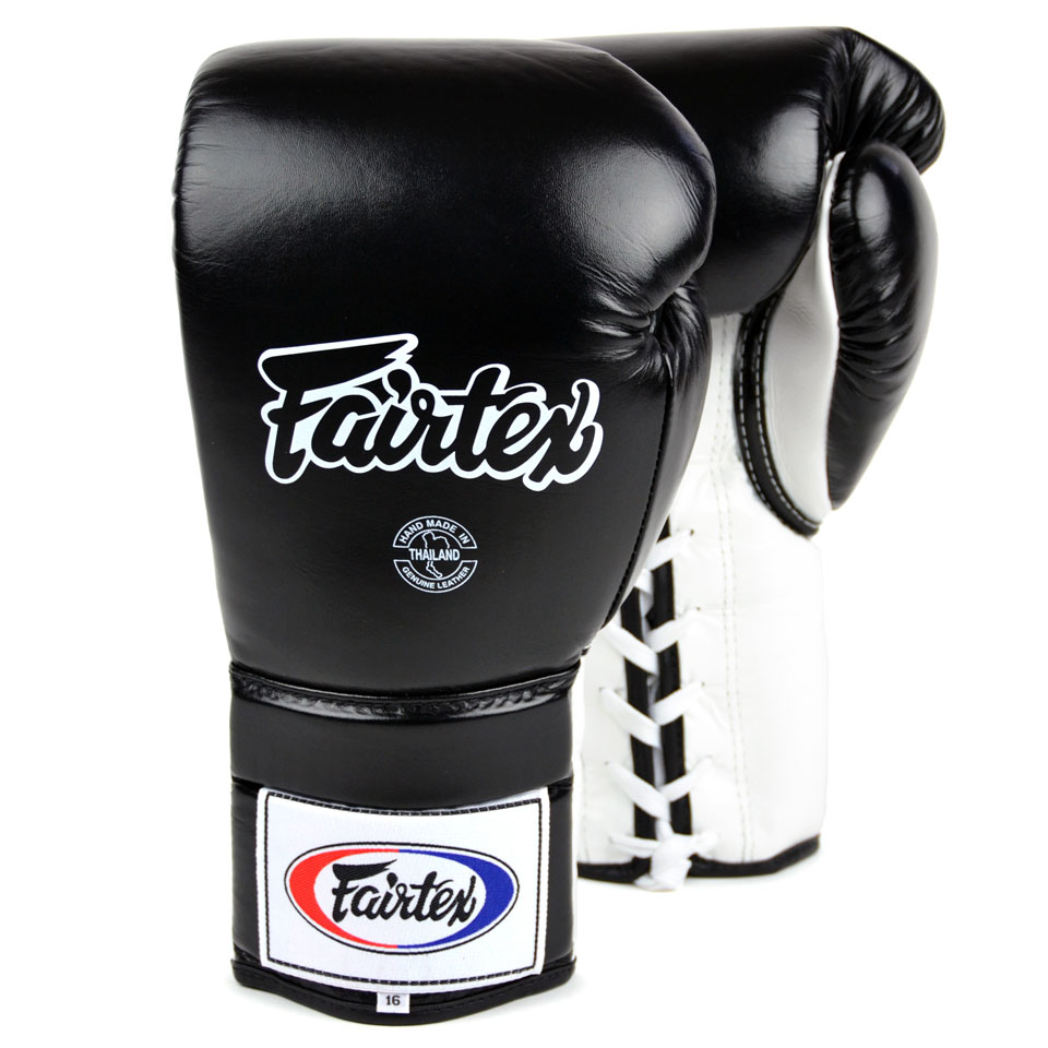 Image of Fairtex BGL3 Black-White Lace Up Sparring Gloves 14oz