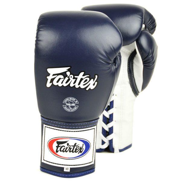 BGL6 Fairtex Blue-White Lace-up Competition Gloves