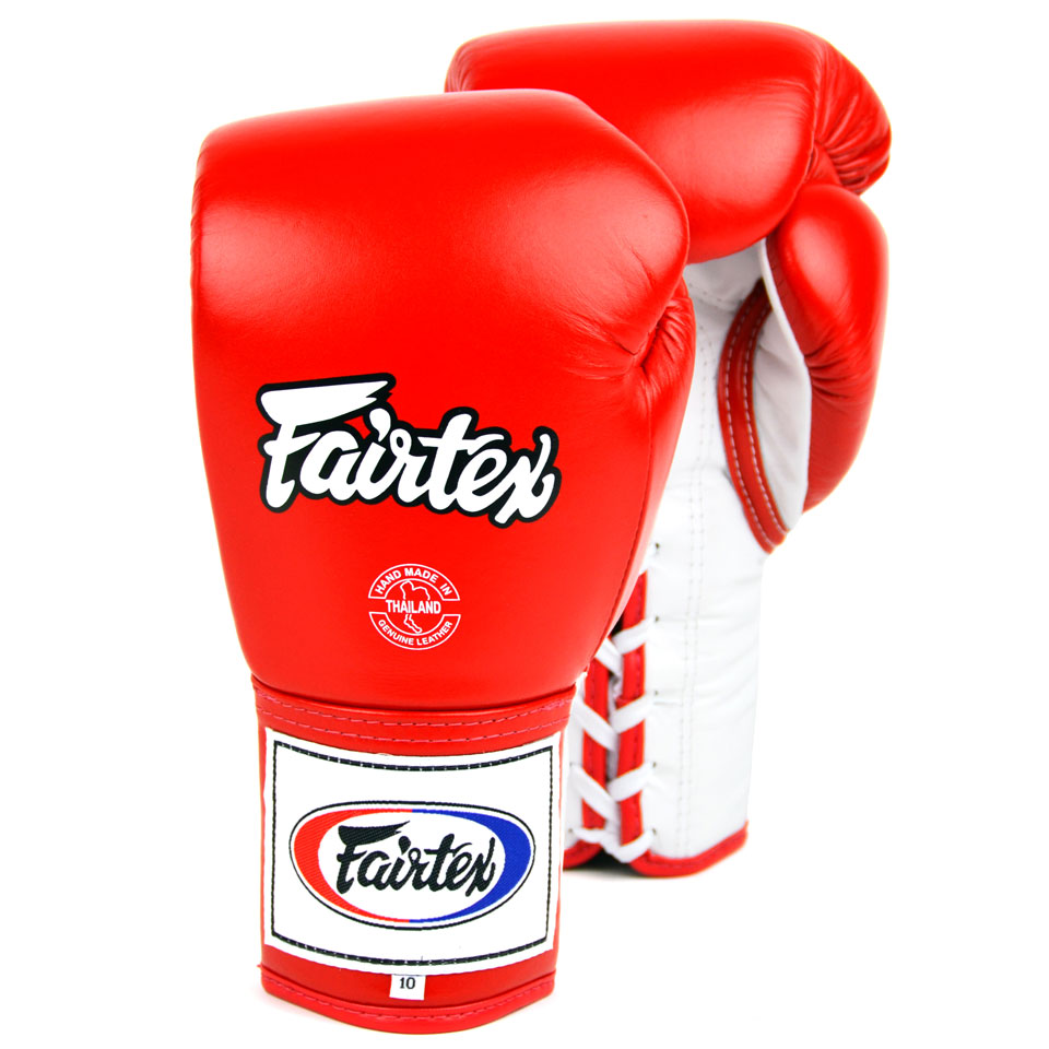 Image of Fairtex BGL6 Red-White Lace Up Competition Gloves 10oz