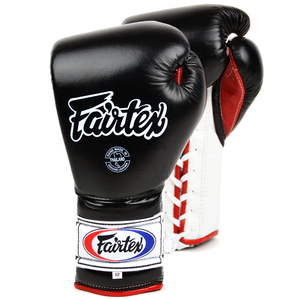 Image of Fairtex BGL7 12oz Black Mexican Lace Up Boxing Gloves