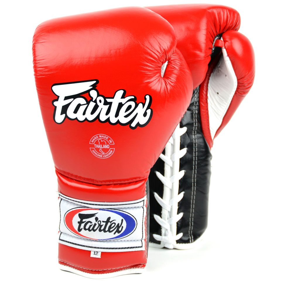 Image of Fairtex BGL7 12oz Red Mexican Lace Up Boxing Gloves