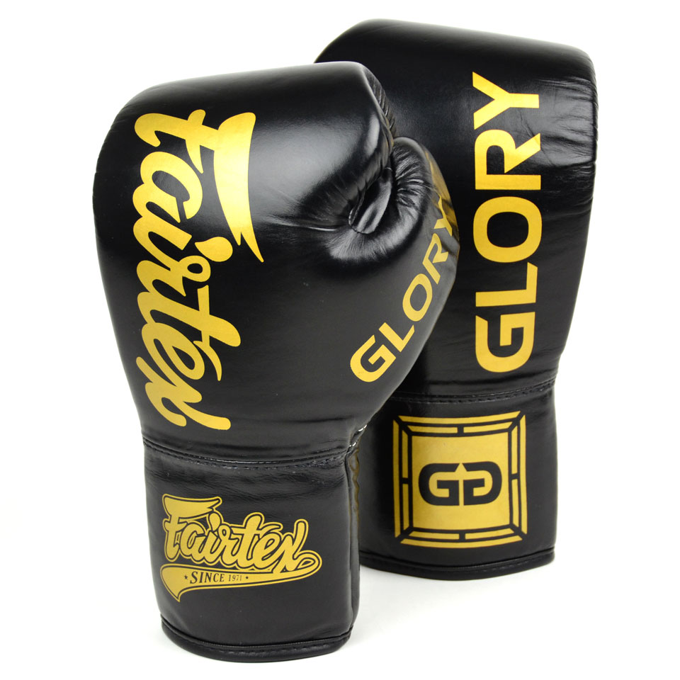 Image of Fairtex BGLG1 10oz X Glory Black Lace up Boxing Gloves