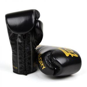 BGLG1 Fairtex X Glory Black Lace-up Boxing Gloves