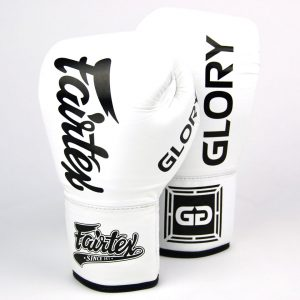 BGLG1 Fairtex X Glory White Lace-up Boxing Gloves