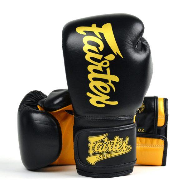 BGV18 Fairtex Black-Gold Super Sparring Gloves