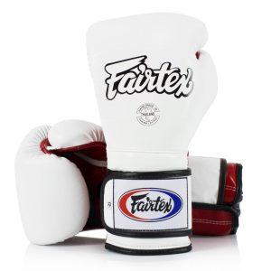 BGV9 Fairtex White-Red Mexican Style Boxing Gloves