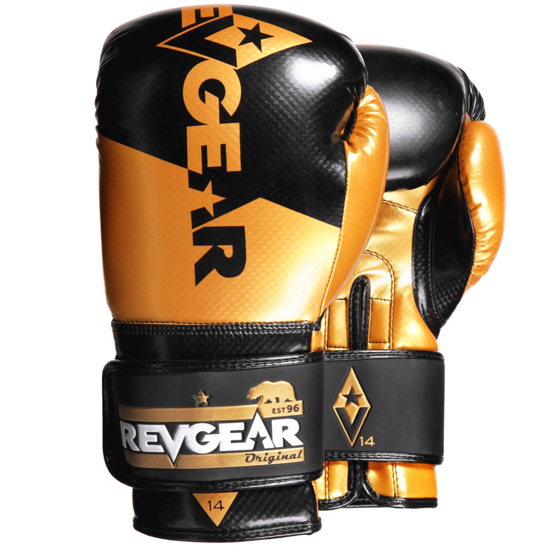 "Femmina | ""Revgear Pinnacle Boxing Gloves Black Gold 10oz"""