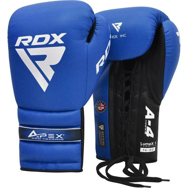 RDX APEX Lace up Training Sparring Boxing Gloves Blue