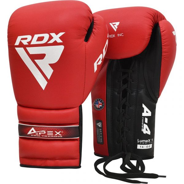 RDX APEX Lace up Training/Sparring Boxing Gloves Red