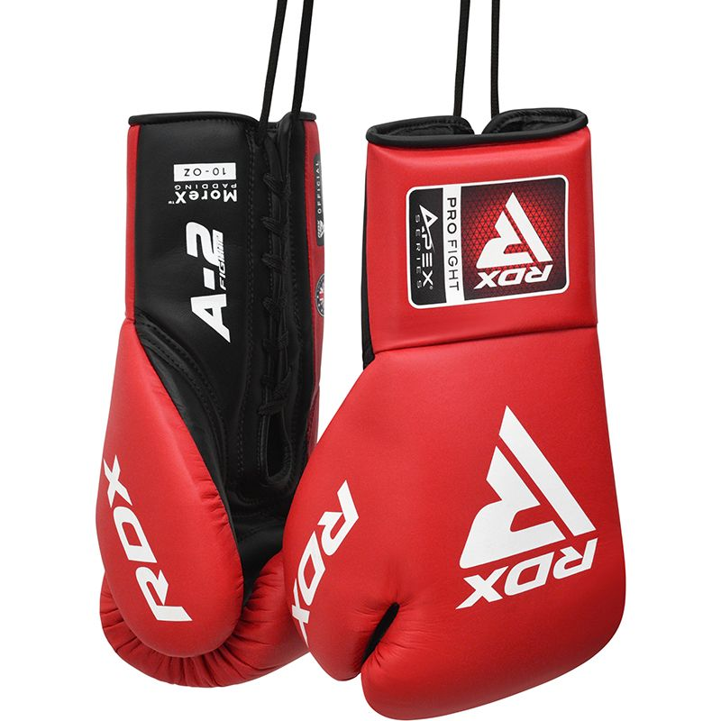 """Femmina   """"RDX APEX A2 Sparring/Training Boxing Gloves Lace Up red 8oz"""""""