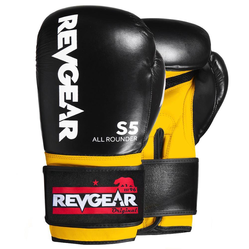 "Femmina | ""Revgear S5 All Rounder Boxing Gloves Black Yellow 10oz"""