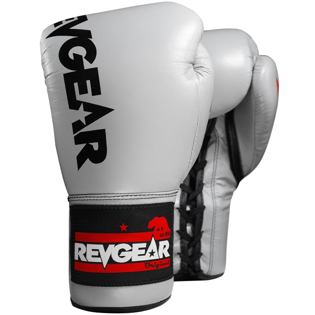 "Femmina | ""Revgear F1 Competitor Professional Boxing Fight Gloves Grey Black 8oz"""