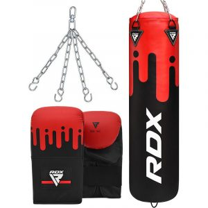 RDX F9 4ft / 5ft 3-in-1 Red / Black Punch Bag with Mitts Set