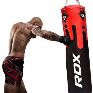 RDX F9R 4ft / 5ft 2-in-1 Black / Red Punch Bag for Boxing & MMA Training Set