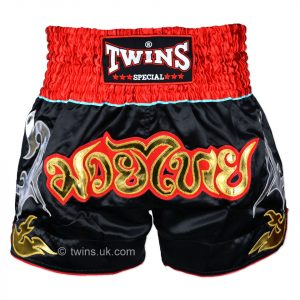TWS-005 Twins Black-Red Muaythai Shorts
