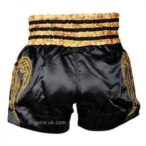 TWS-008 Twins Black-Gold Muaythai Shorts