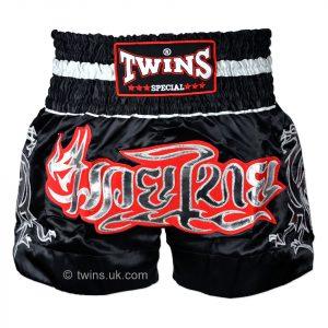 TWS-153 Twins Black-Silver Muaythai Shorts