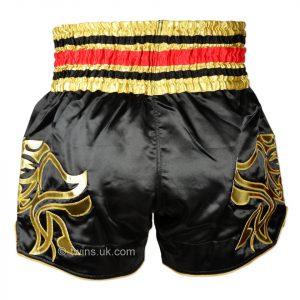 TWS-154 Twins Black-Gold Muaythai Shorts
