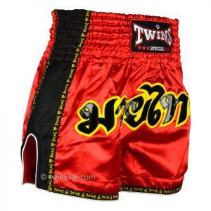 TWS-911 Twins Red Retro Muaythai Shorts